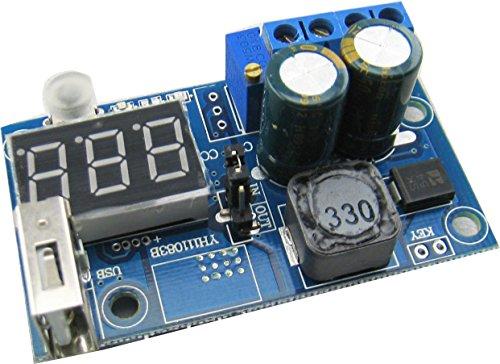 Yeeco LM2596 Adjustable Step Down Voltage Regulator 4-40V to 12-38V 9V 12V Variable Volt Power Supply Module DC DC Buck Converter with Digital Voltmeter Display USB Mobile Power