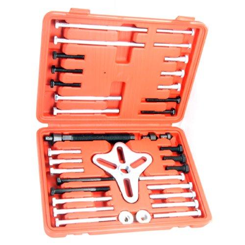HFS R 46 Pcs Harmonic Balancer Puller - Gear Puller Crank Shaft Pulley Steering Wheel Kit Pulley Yoke Crank Storage Case