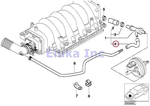BMW Genuine Vacuum Hose - Vacuum Pipe To Brake Booster Vacuum Valve 740i 740iL 740iLP 540i 540iP ALPINA V8 X5 44i X5 46is