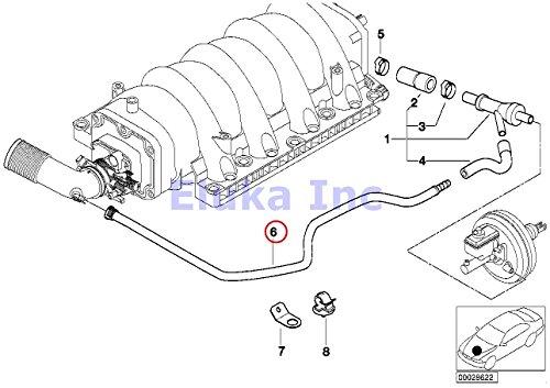 BMW Genuine Vacuum Pipe - Intake Boot To Brake Booster Vacuum Valve Hose 740i 740iL 740iLP 540i 540iP ALPINA V8 X5 44i X5 46is