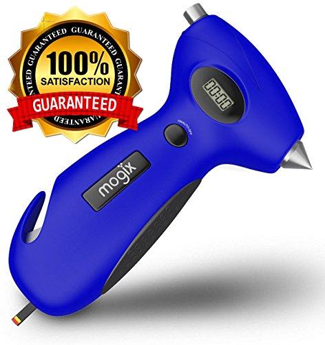 Mogix Digital Tire Pressure Gauge Safety 5in1 Survival Tool - Auto Rescue Window Breaker Seat Belt Cutter Flashlight and Tire Tread Meter Blue