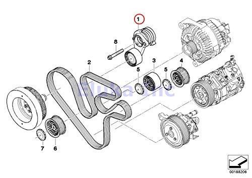 BMW Genuine Drive Belt Tensioner With Pulley - Alternator AC Power Steering X6 35iX 740i 740Li