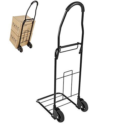 Leoneva Steel Heavy Duty Portable Folding Labor-Saving Hand TruckCart Stair Climbing Grocery Transit Cart with Swivel Wheel Bearings 110lb Capacity