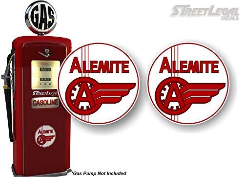 2 Vintage ALEMITE Motor Oil Antique Gas Pump 4 Decals Grease Pumps Vintage Gas Pumps Oil Garage Service Station Sign Stickers 2 4 Round Decals