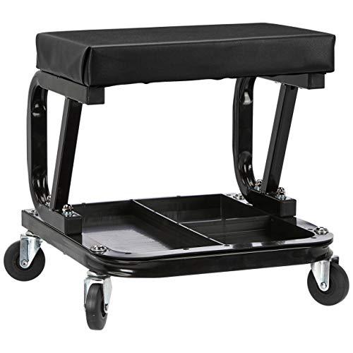 AmazonBasics Rolling Creeper GarageShop Seat with 300 lb Capacity - Black