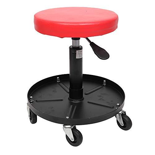 Pneumatic Work Chair Adjustable Mechanics Rolling Creeper Seat Stool Tray Shop Garage