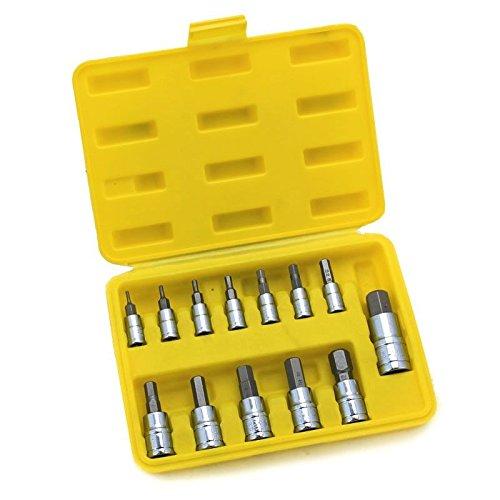 13 PCS SAE Hex Socket Bits Case S2 14 38 12 Drive Tool Set CR-V NEW Forged