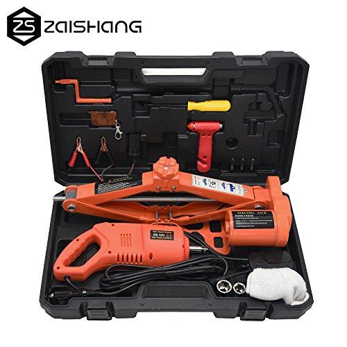 ZS 3Ton 6600lb Auto Electric Car Scissor Lift Jack with Impact Wrench Tire Repair Tools Kit 12V DC Orange
