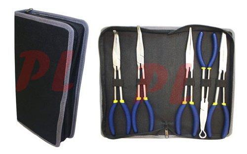 5PC 11 Long Nose Pliers Set Bent Nose Hose Cable Hand Tool Pouch Automotive