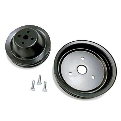 Pirate Mfg Sb Chevy Short Water Pump Black Steel 2 Groove Pulley Kit 283 327 350 V8