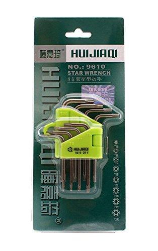 HKCB 8PCSset Torx CRV Key Star Wrench Spanner Screwdriver T5 T6 T7 T8 T9 T10 T15 T20