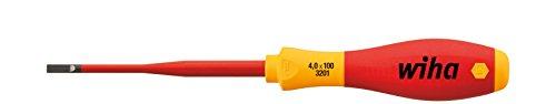 Wiha 40 x 100mm Slim Fix VDE Screwdriver Slotted