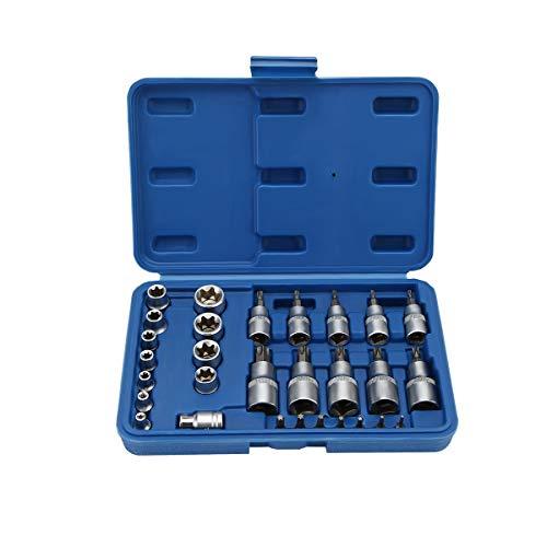 OCGIG 30 PCS Torx Star Socket Set Bit Male Female E T Sockets with Torx Tool Kit