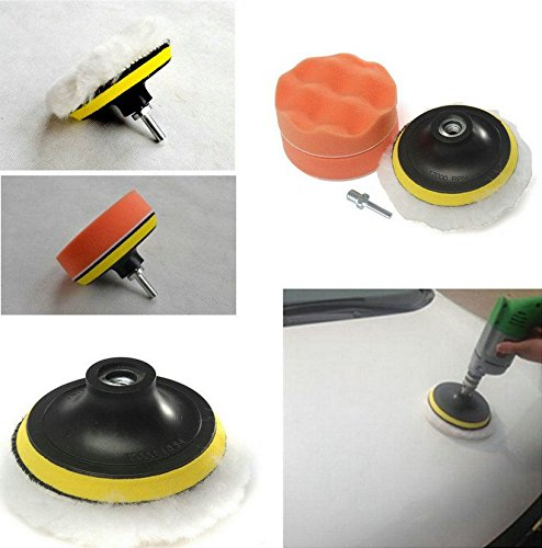 BaiFM 3 Buffing Sponge Compound-Polishing-Auto Pad Kit with Drilling Adapter M10 For Car Auto Polisher 6pcs