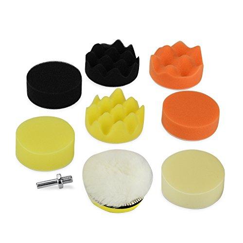QuWei 11pcs 380mm Compound Drill Buffing Sponge Pads Kit for Car Sanding Polishing Waxing Sealing Glaze Professional Wool and Foam Pad Buffing Polishing and Finishing System