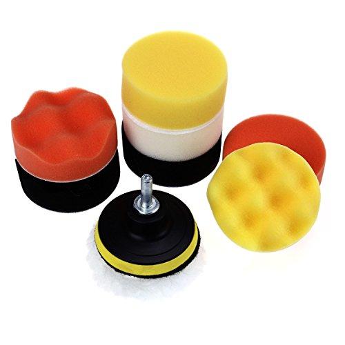 WINOMO 10 PCS 3 Inch Compound Drill Buffing Sponge Pads Kit for Car Sanding Polishing Sealing Glaze Waxing Professional
