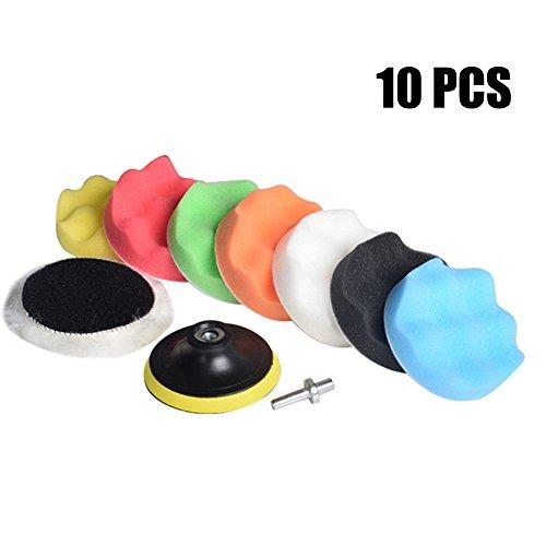 "WildAuto 10Packs 6"" Polishing padsSponge and Woolen Polishing Waxing Buffing Pads Kits with M14 Drill Adapter 10 Packs"