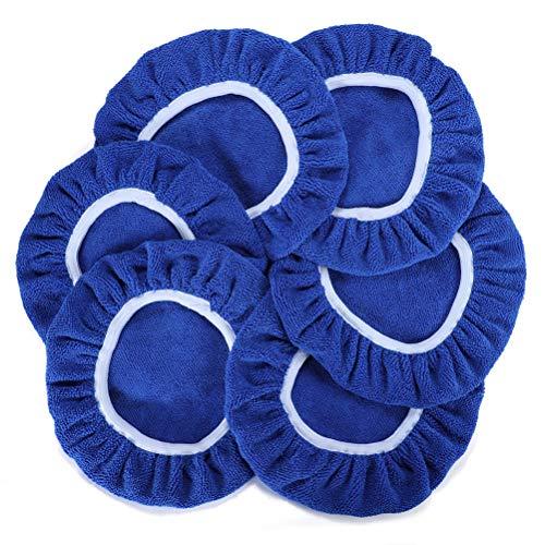 AUTDER Car Polishing Pads 9 to 10 Inch Polisher Bonnet - Soft Mircofiber Max Waxer Pads - Polishing Bonnet for Most Car Polishers 6Pcs - Blue