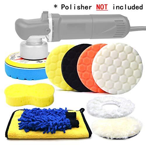 POLIWELL 6 Inch Car Polishing Buffing Sponge Pads Kit 516 24 Thread Backing Pad for Auto DA Random Orbital Polisher Buffer Wool Bonnet Pad Wash MittMicrofiber Cloth for Cleaning Waxing 11PCS