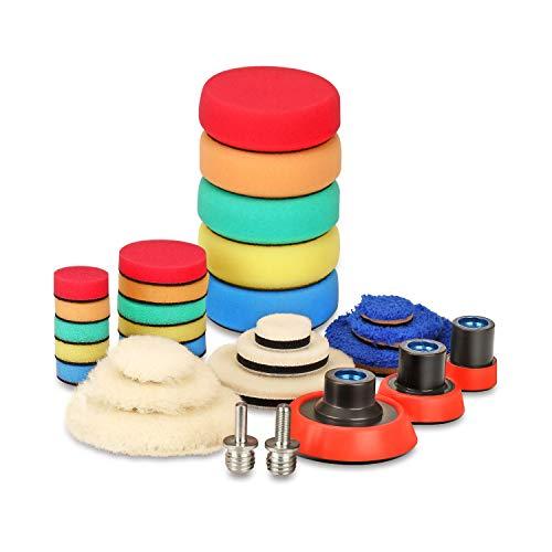 SPTA 29pcs Drill Buffing Pad Detail Polishing Pad Mix Size Kit with 58-11 Thread Backing pad Adapters for Car Sanding Polishing Waxing Sealing Glaze