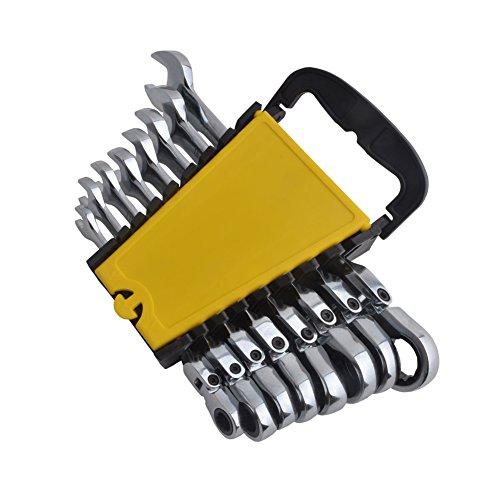 Gunpla 8 Pieces 8-17mm Flexible Head Combination Ratcheting Wrench Spanner Set Metric