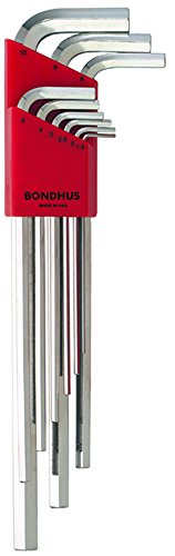 Bondhus 17199 Set of 9 Hex L-wrenches with BriteGuard Finish Extra Long Length sizes 15-10mm