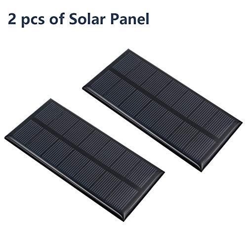 Treedix 2pcs 35V 250mA Polysilicon Solar Panel Glue Solar Cell Battery Charger DIY Solar Product Mini Small Solar Panel Module Kit Polycrystalline Silicon Encapsulated in Waterproof Resin