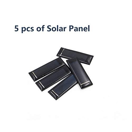 Treedix 5pcs 05V 100mA Polysilicon Solar Panel Glue Solar Cell Battery Charger DIY Solar Product Mini Small Solar Panel Module Kit Polycrystalline Silicon Encapsulated in Waterproof Resin