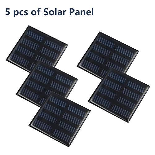 Treedix 5pcs 2V 150mA Polysilicon Solar Panel Glue Solar Cell Battery Charger DIY Solar Product Mini Small Solar Panel Module Kit Polycrystalline Silicon Encapsulated in Waterproof Resin 150mA