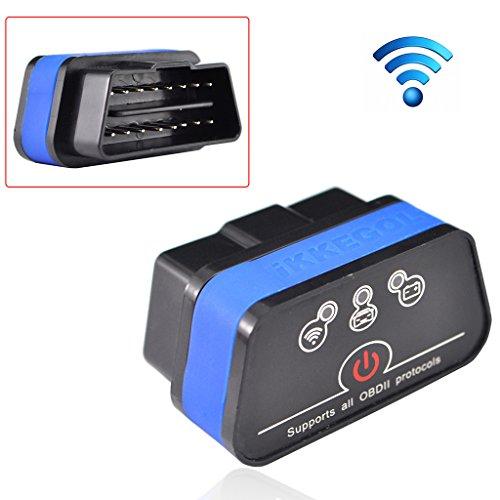 iKKEGOL iCar 2 Mini OBD2 OBD II WiFi Car Diagnostic Scan Tool for IOS iPhone iPad PC with Switch Auto SleepBlackBlue