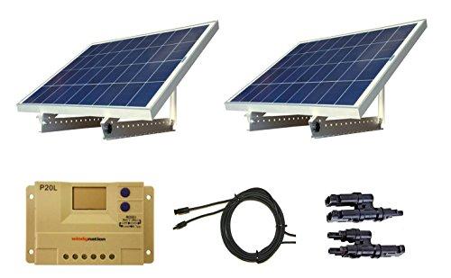 WindyNation 200 Watt 12V or 24V Solar Panel Kit w Adjustable Solar Mount Rack and LCD Charge Controller RV Cabin Off-Grid Battery