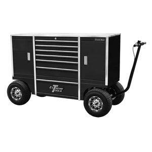 Extreme Tools TXPIT7009BK Tx Series 7-Drawer and 2-Compartment Pit Box with Ball Bearing Slides 70-Inch Black High Gloss Powder Coat Finish