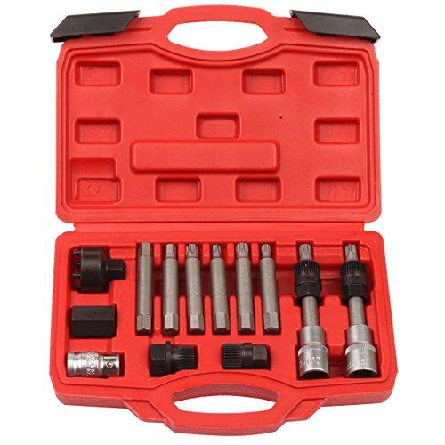Qbace 13pcs Alternator Freewheel Pulley Puller Removal Engine Auto Tool Set