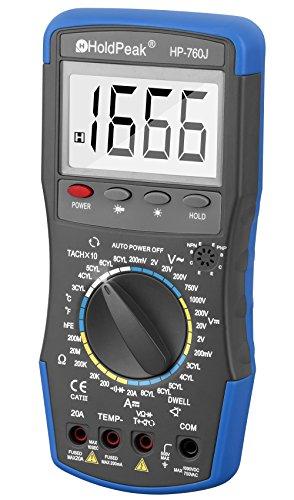 Holdpeak 760J Digital Multimeter with Ohm Volt Amp and Diode Test –Measuring DC AC voltagecurrent resistance Temperature Diode test Continuity Test TachometerDwellTransistor hFE Test
