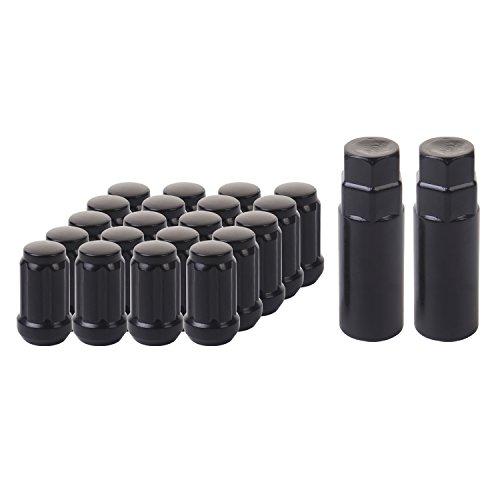 HanAuto Black Lug Nuts with 2 KEY 12mm x 15 Thread Size - Pack of 20 Wheel Lug nuts 63512K202