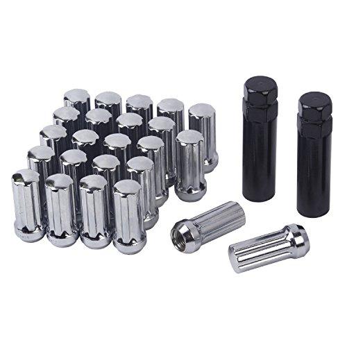 HanAuto Chrome Plating Lug Nuts With 2 KEY14mm x 15 Thread Size - Pack of 24 Wheel Lug nuts 75114C242