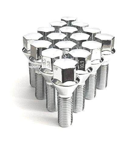 14x15 Acorn Lug Bolt Chrome Heat Treated Conical Seat OEM 14mmx15 Thread Size 17mm Hex 20 Pieces 35mm Shank