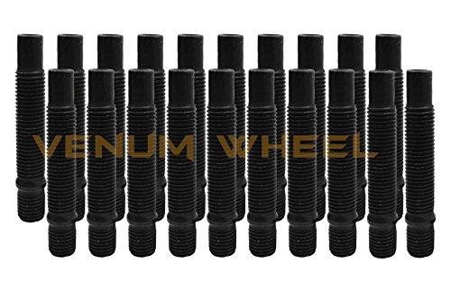 20 Pc 12x15 90mm Long Black Stud Conversion Kit For BMW Vehicles M12x15 Replaces Lug Bolts