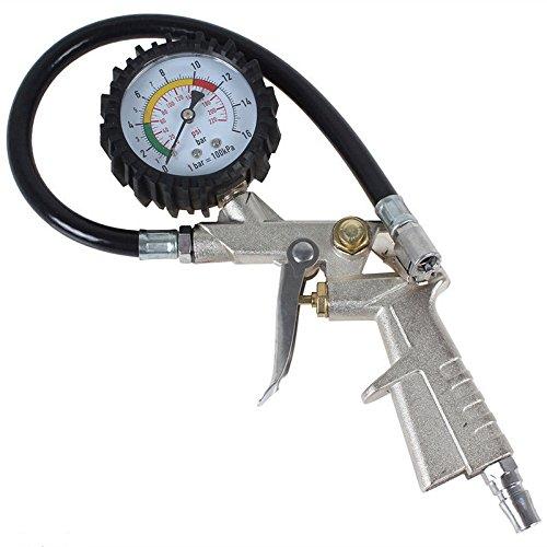 Air Tire Pressure Filler Dual Chuck Inflator Gauge Hose Car Compressor 220psi