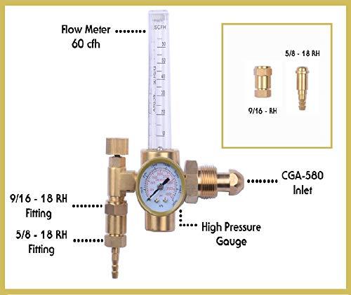MOD Complete MDC99009 Argon Regulator TIG Welder MIG Welding CO2 Flowmeter 10-60 CFH - 0 to 4000 Psi Pressure Gauge CGA580 Inlet Connection Gas Welder Welding Regulator Accurate Metering