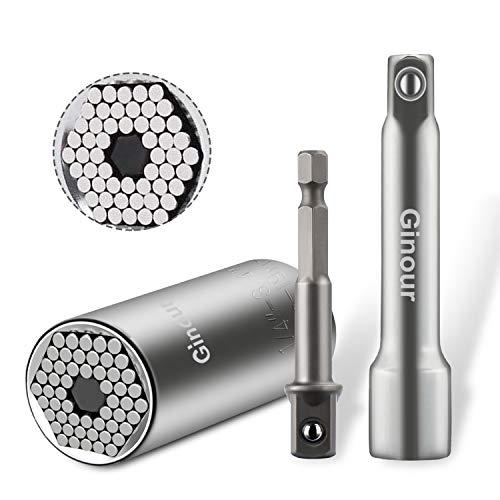 Ginour Universal Socket 3Pcs Multi-function Universal Socket Wrench 14-347-19mm Chrome Vanadium Steel Professional Repair Kit with Power Drill Ratchet Wrench Adapter