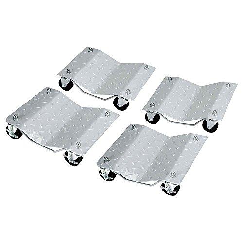 Set of 4 3 Auto Dolly Wheel Tire 12x16 Skate Castor Silver Auto Car Bearing
