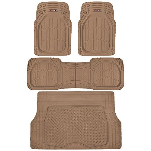 Motor Trend 4pc Beige Car Floor Mats Set Rubber Tortoise Liners w Cargo for Auto SUV Trucks