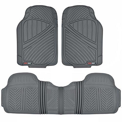 Motor Trend FlexTough Baseline - Heavy Duty Rubber Car Floor Mats 100 Odorless BPA Free All Weather Gray - MT773GRAMw1