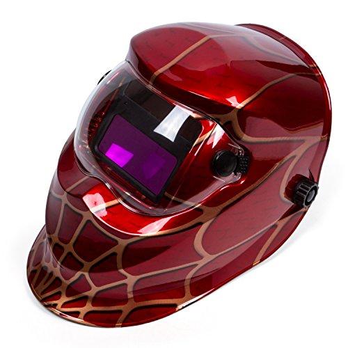 Holulo Red Spider Design Solar Power Auto Darkening Welding Helmet ARC TIG MIG Welder Mask Mask View size 93mm X 43mm 366 X 169Red spider