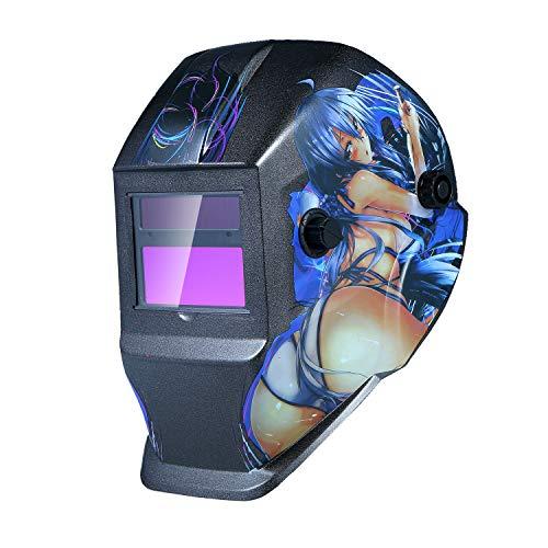 KKmoon Welding Helmet Solar Powered Auto Darkening Hood with Adjustable Shade Range 49-13 for Mig Tig Arc Welder Mask Shield Cartoon Girl Design