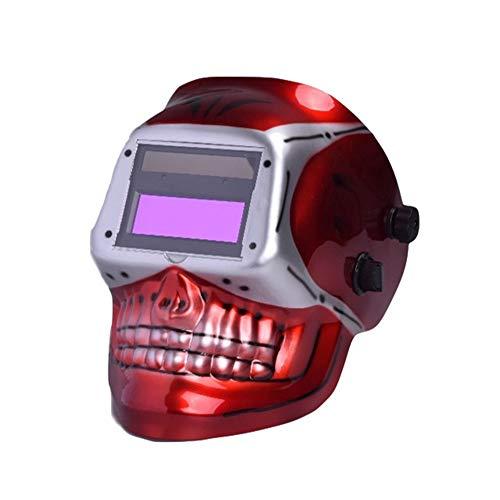 LZHJ Solar Auto Welding Mask Darkening Grind Welding Helmet for Mag Welding EquipmentRed Skull
