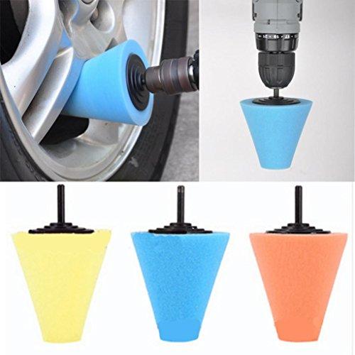 Sinwo Wheel Hub Polish Buffing Shank Polishing Sponge Cone Metal Foam Pad Car 6MM Car Cleaning Car Wheel Cleaning Random
