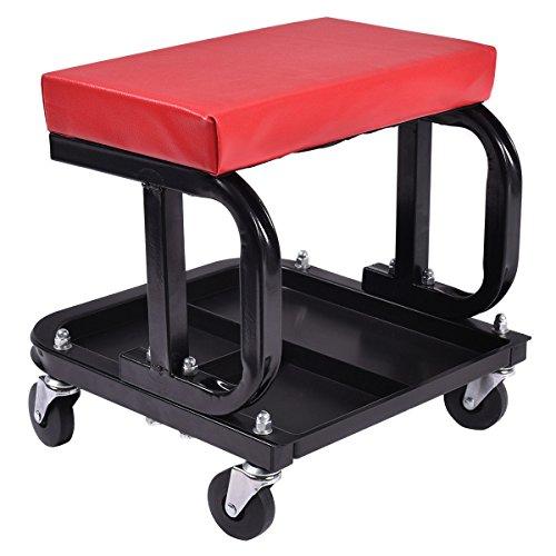 Goplus Rolling Creeper Seat Mechanic Stool Chair Repair Tools Tray Shop Auto Car Garage w 220 lbs Capacity