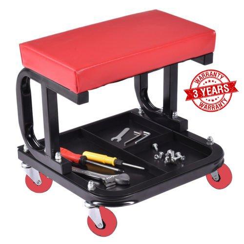 Omni Preminum Heavy Duty Mechanic Rolling Seat Stool Chair Repair Tools Tray Shop Auto Car Garage w 225 lbs Capacity